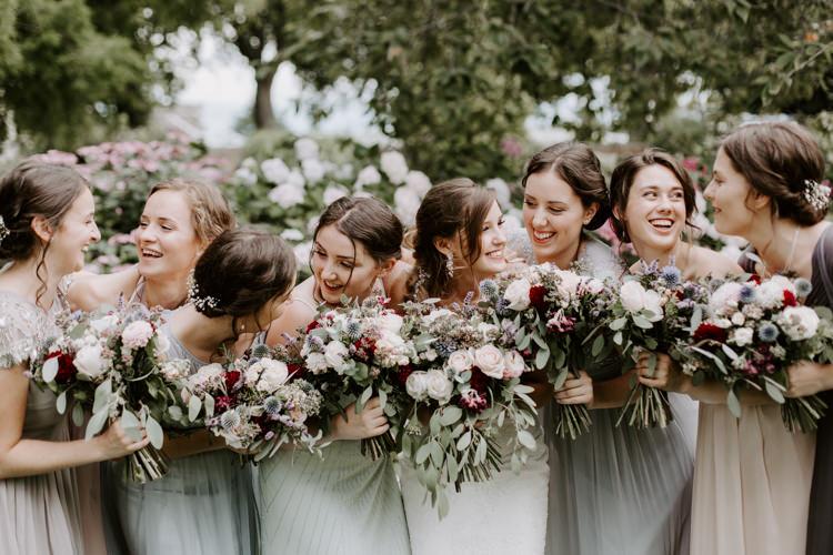 Bridesmaids Pastel Mismatched Dress Bouquets Burgundy Flowers Botanical Summer Garden Wedding Nottingham Grace Elizabeth Photo & Film
