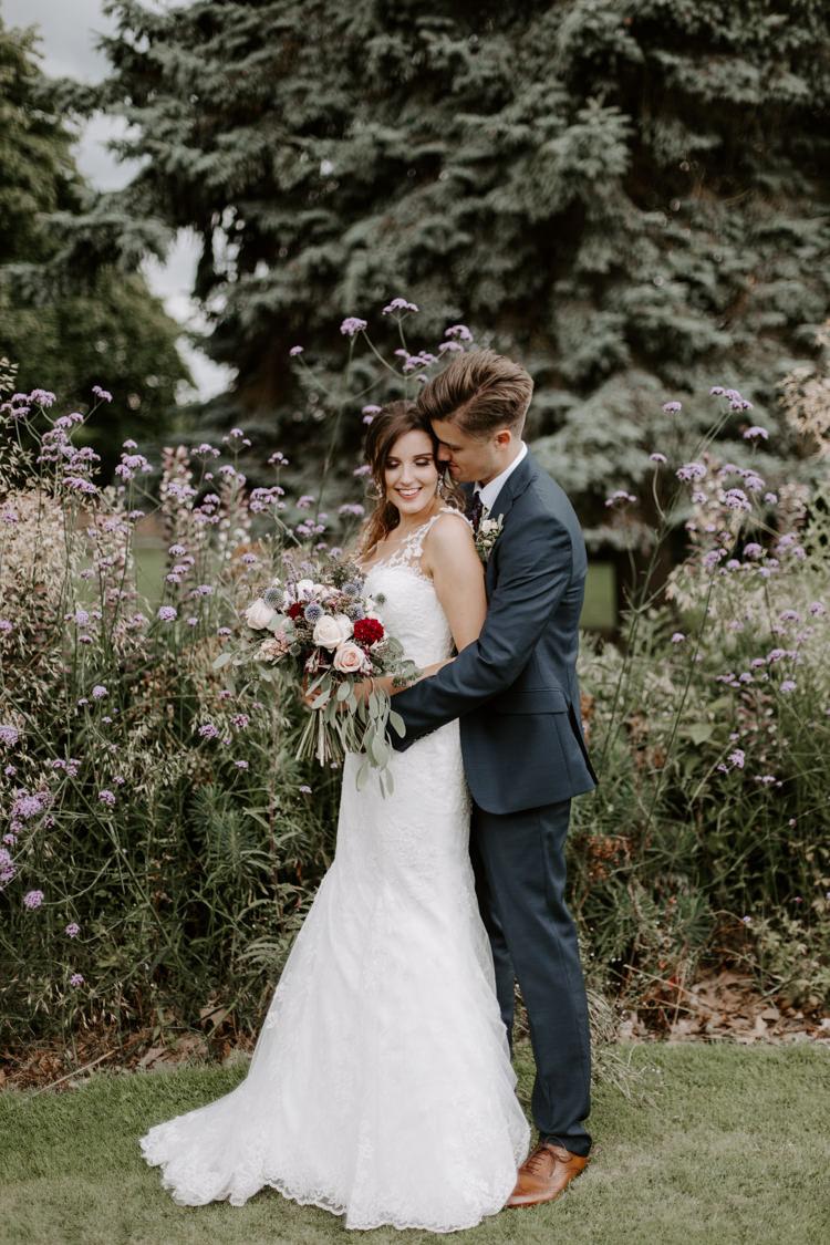 Anna Sorrano Illusion Back Dress Gown Sheer Lace Buttons Fit Flare Bride Bridal Botanical Summer Garden Wedding Nottingham Grace Elizabeth Photo & Film