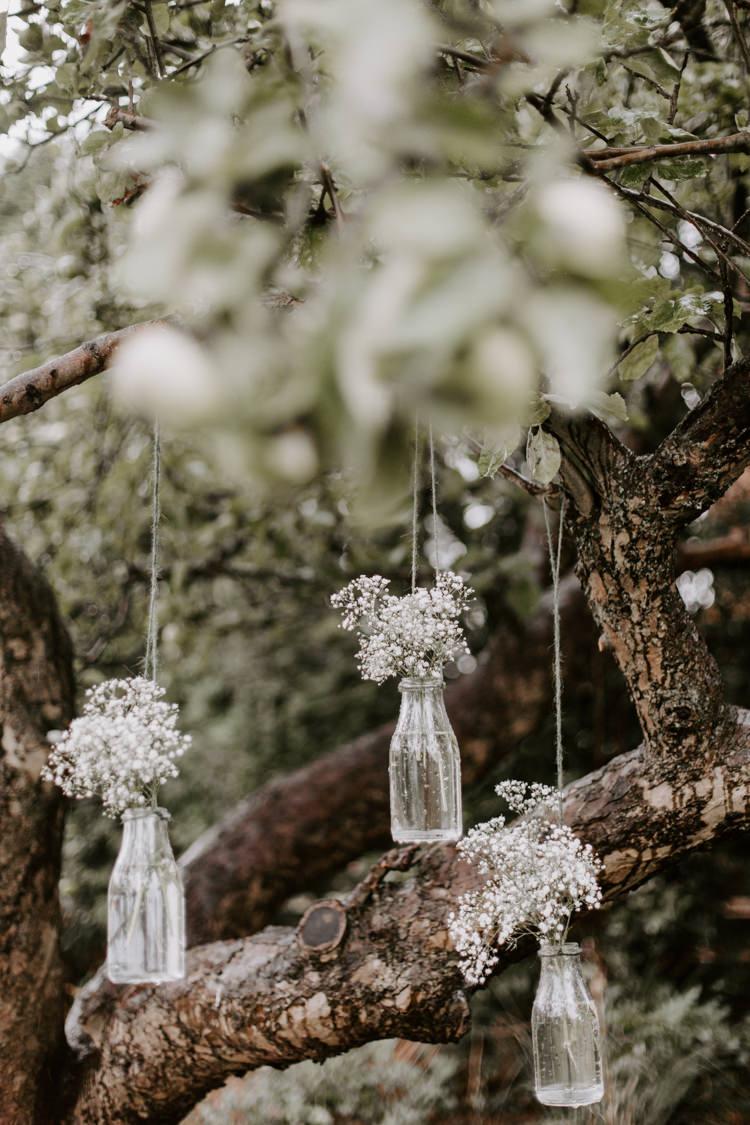 Bottle Flowers Hanging Trees Gypsophila Botanical Summer Garden Wedding Nottingham Grace Elizabeth Photo & Film