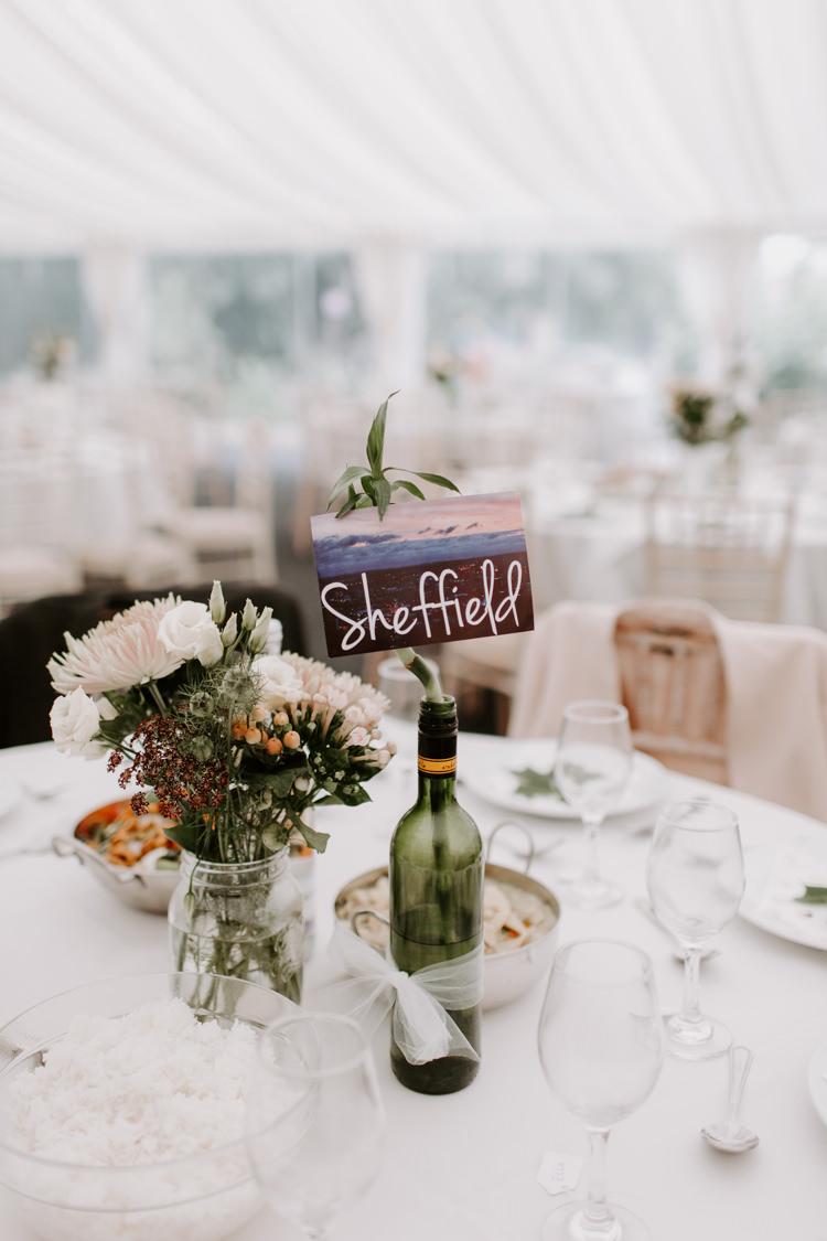 Post Card Table Name Places Bottle Wine Botanical Summer Garden Wedding Nottingham Grace Elizabeth Photo & Film
