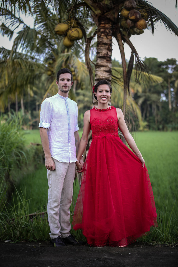 Outdoor Destination Luxury Adventure Ubud Chinese Tea Ceremony Coconut Trees Red Dress | Whimsical Exotic Tropical Jungle Wedding Bali http://www.cecilephotographybali.com/
