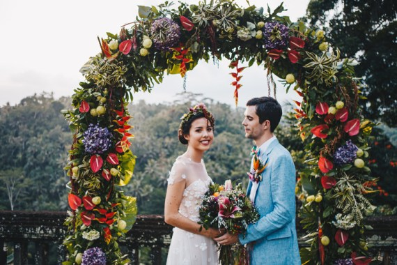 Outdoor Destination Luxury Adventure Ubud Ceremony Colorful Flower Crown Tropical Bouquet Floral Arch Crown Bride Groom | Whimsical Exotic Tropical Jungle Wedding Bali http://www.cecilephotographybali.com/