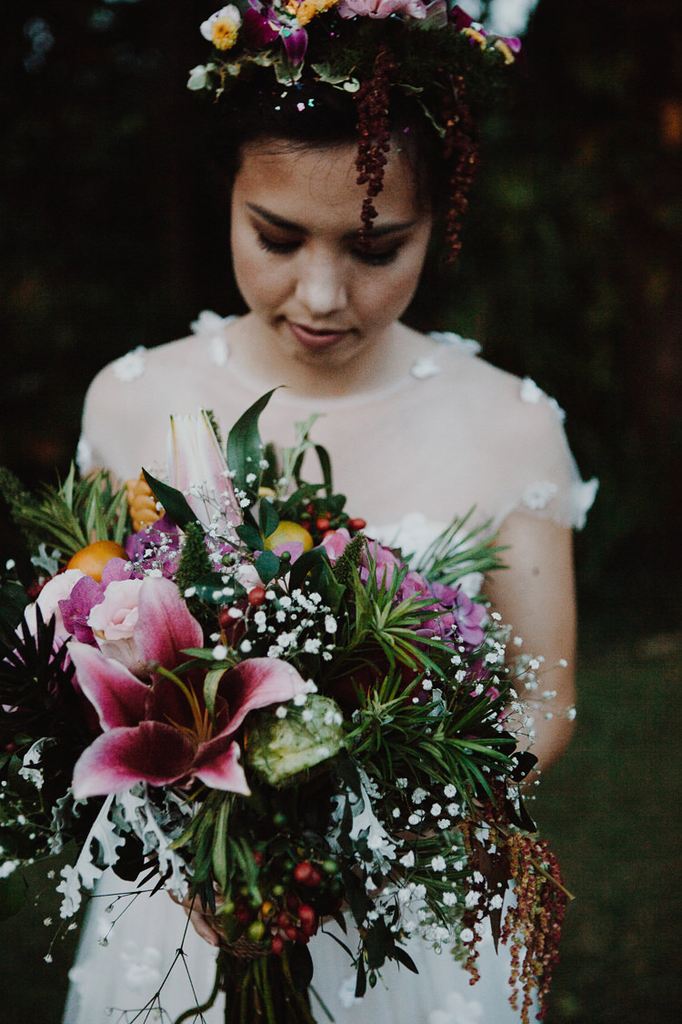 Outdoor Destination Luxury Adventure Ubud Ceremony Colorful Tropical Bouquet Flower Crown Bride | Whimsical Exotic Tropical Jungle Wedding Bali http://www.cecilephotographybali.com/