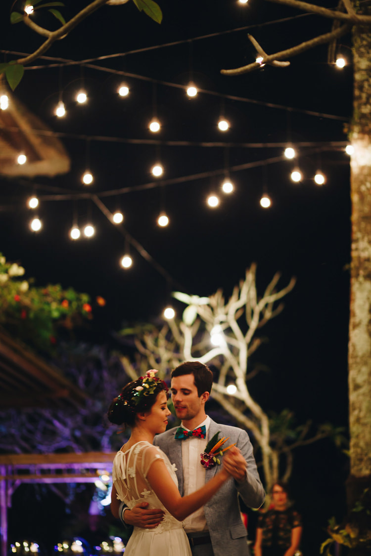 Outdoor Destination Luxury Adventure Ubud Colorful Tropical Flower Crown Bride Groom First Dance | Whimsical Exotic Tropical Jungle Wedding Bali http://www.cecilephotographybali.com/