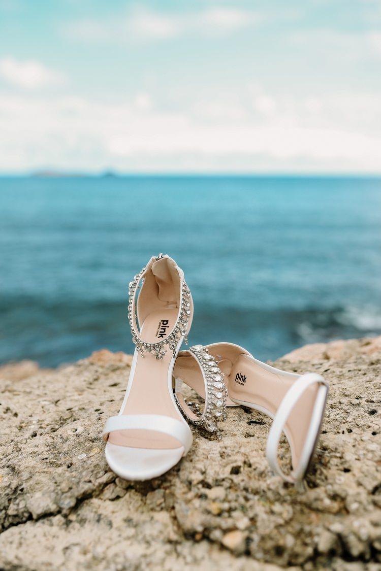 Spain Sun Outdoor Tropical Mediterranean Garden Villa Sea Bride White Shoes | Ibiza Destination Wedding Amy Faith Photography