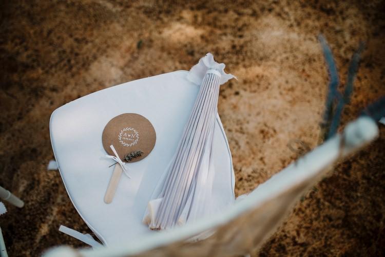 Spain Sun Outdoor Tropical Mediterranean Garden Villa Outdoor Ceremony Chairs Fan Parasol | Ibiza Destination Wedding Amy Faith Photography