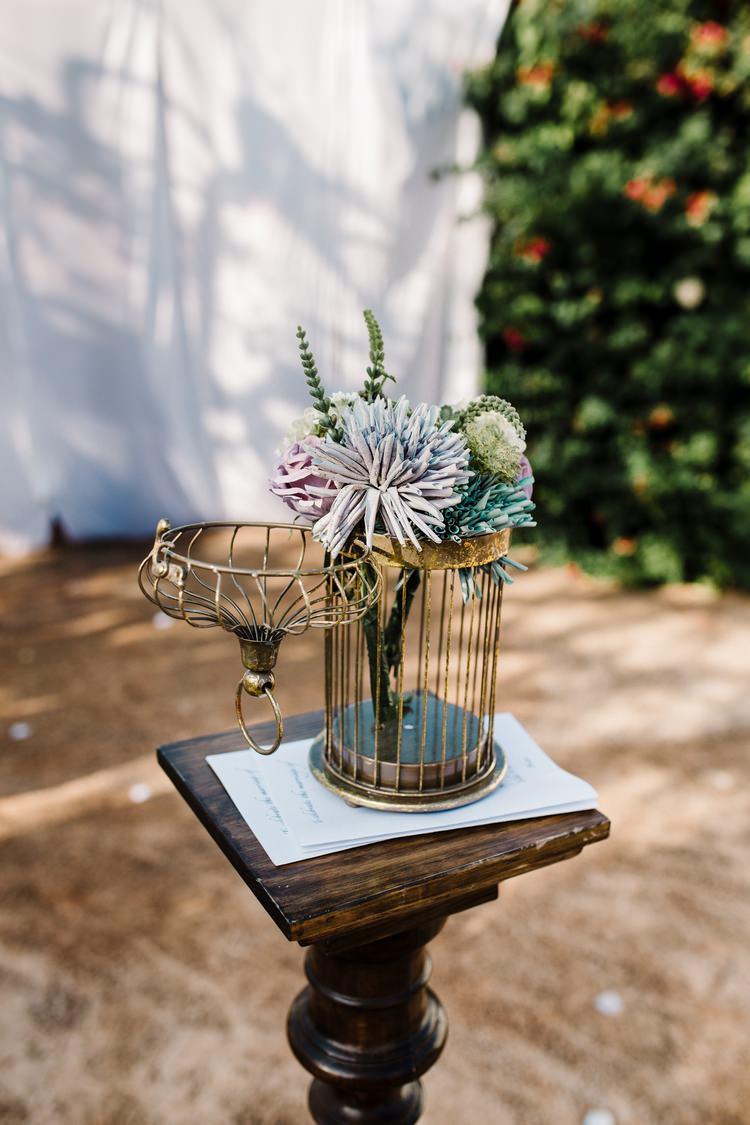 Spain Sun Outdoor Tropical Mediterranean Garden Villa Outdoor Flower Styling Gold | Ibiza Destination Wedding Amy Faith Photography