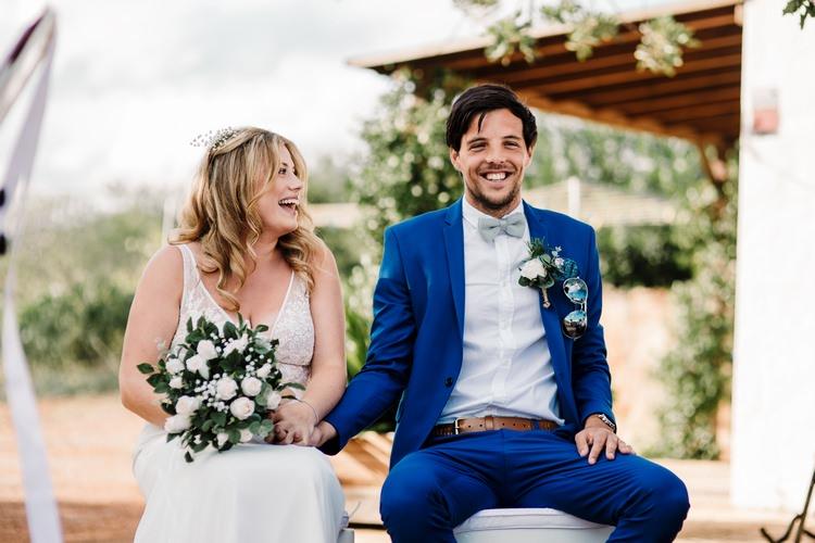 Spain Sun Outdoor Tropical Mediterranean Garden Villa Outdoor Ceremony Bride Groom Bouquet | Ibiza Destination Wedding Amy Faith Photography