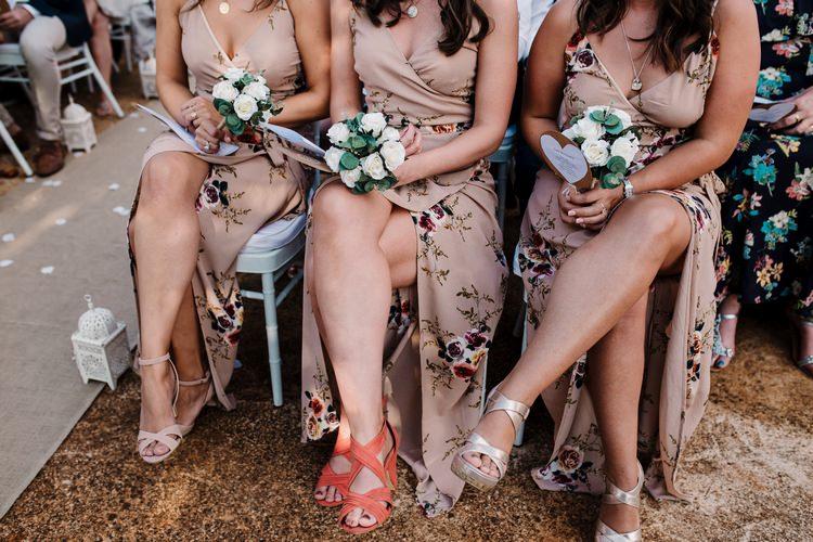 Spain Sun Outdoor Tropical Mediterranean Garden Villa Outdoor Ceremony Floral Bridesmaids White Bouquets | Ibiza Destination Wedding Amy Faith Photography