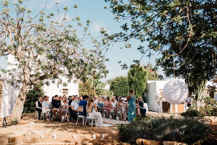 Spain Sun Outdoor Tropical Mediterranean Garden Villa Outdoor Ceremony | Ibiza Destination Wedding Amy Faith Photography