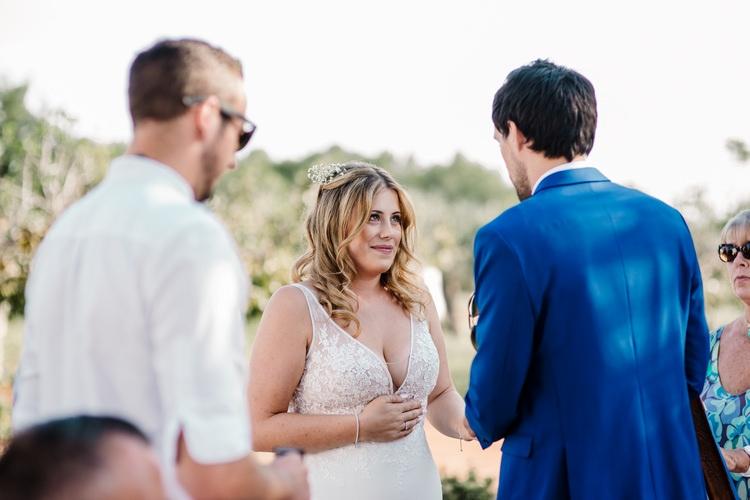Spain Sun Outdoor Tropical Mediterranean Garden Villa Outdoor Ceremony Vows Rings | Ibiza Destination Wedding Amy Faith Photography