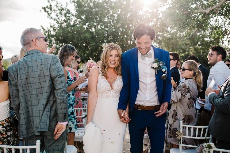 Spain Sun Outdoor Tropical Mediterranean Garden Villa Outdoor Ceremony Bride Groom | Ibiza Destination Wedding Amy Faith Photography