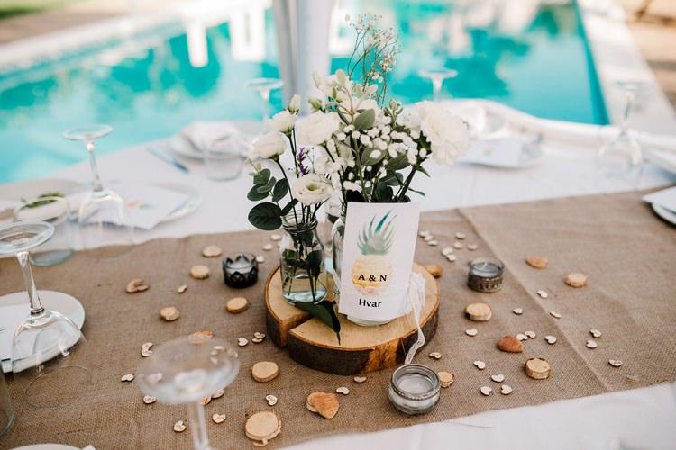 Spain Sun Outdoor Tropical Mediterranean Garden Villa Outdoor Reception Rustic Hessian Table | Ibiza Destination Wedding Amy Faith Photography