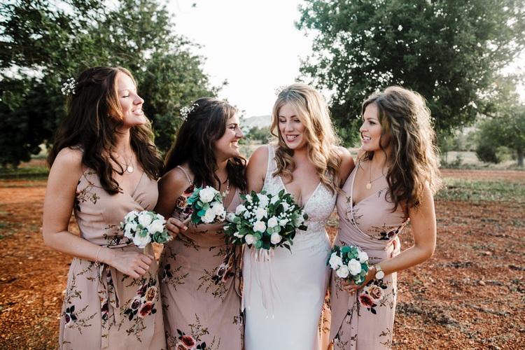 Spain Sun Outdoor Tropical Mediterranean Garden Villa Bride Floral Bridesmaids | Ibiza Destination Wedding Amy Faith Photography