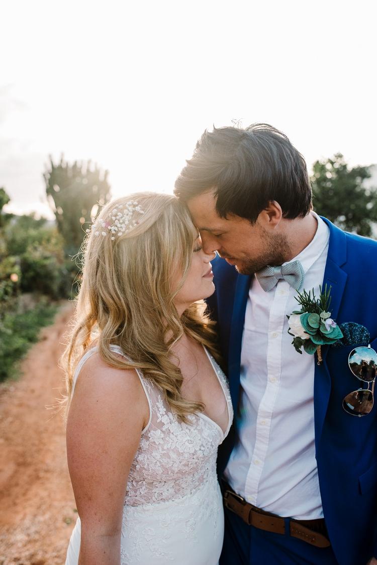 Spain Sun Outdoor Tropical Mediterranean Garden Villa Bride Groom Sunset | Ibiza Destination Wedding Amy Faith Photography