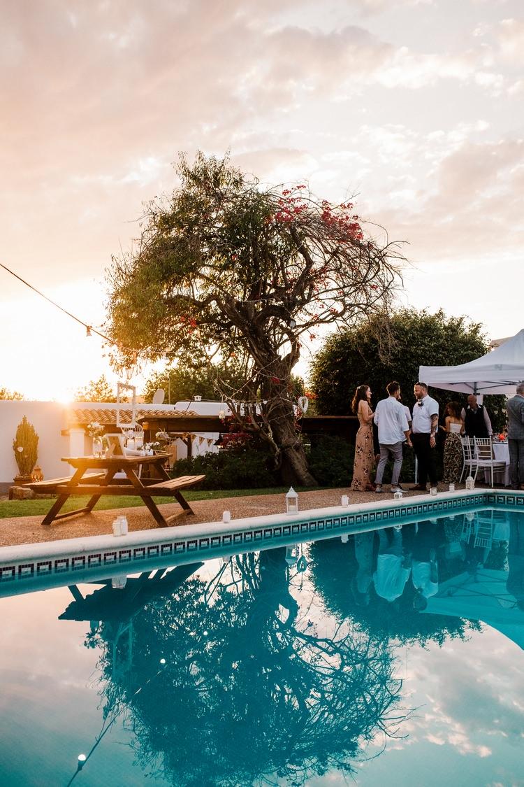 Spain Sun Outdoor Tropical Mediterranean Garden Villa Outdoor Reception Drinks Party Sunset | Ibiza Destination Wedding Amy Faith Photography