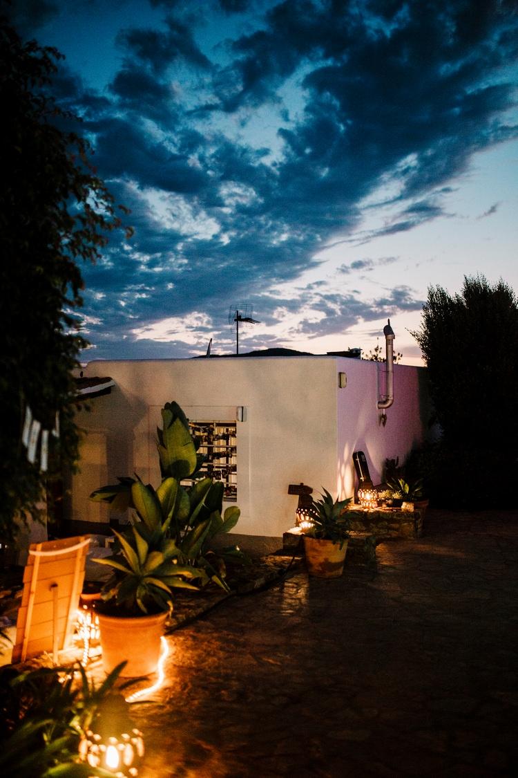 Spain Sun Outdoor Tropical Mediterranean Garden Villa Outdoor Reception Drinks Party | Ibiza Destination Wedding Amy Faith Photography