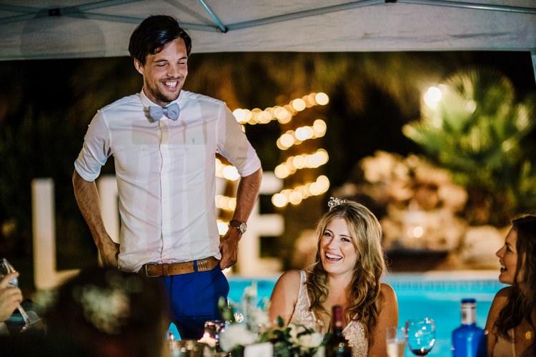 Spain Sun Outdoor Tropical Mediterranean Garden Villa Outdoor Reception Speeches | Ibiza Destination Wedding Amy Faith Photography