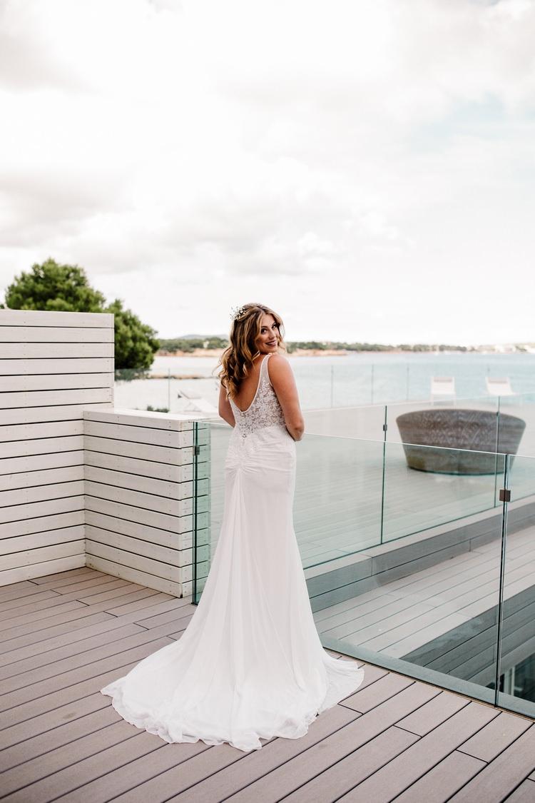 Spain Sun Outdoor Tropical Mediterranean Garden Villa Sea Island Bride Dress Morning | Ibiza Destination Wedding Amy Faith Photography