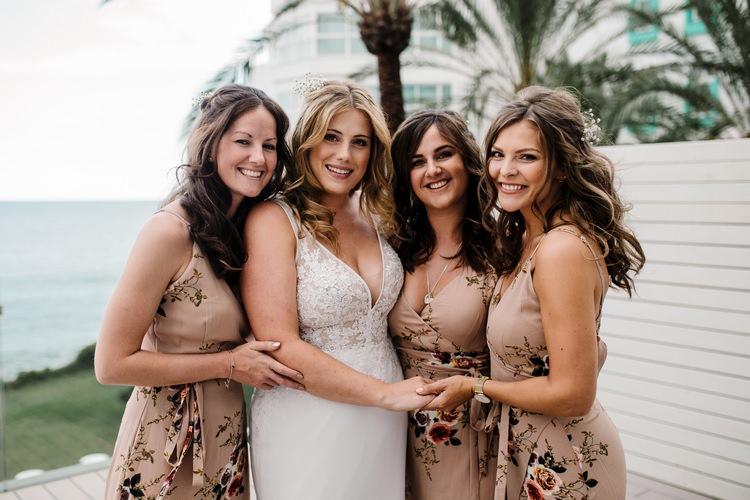 Spain Sun Outdoor Tropical Mediterranean Garden Villa Bride Floral Bridesmaids Morning | Ibiza Destination Wedding Amy Faith Photography