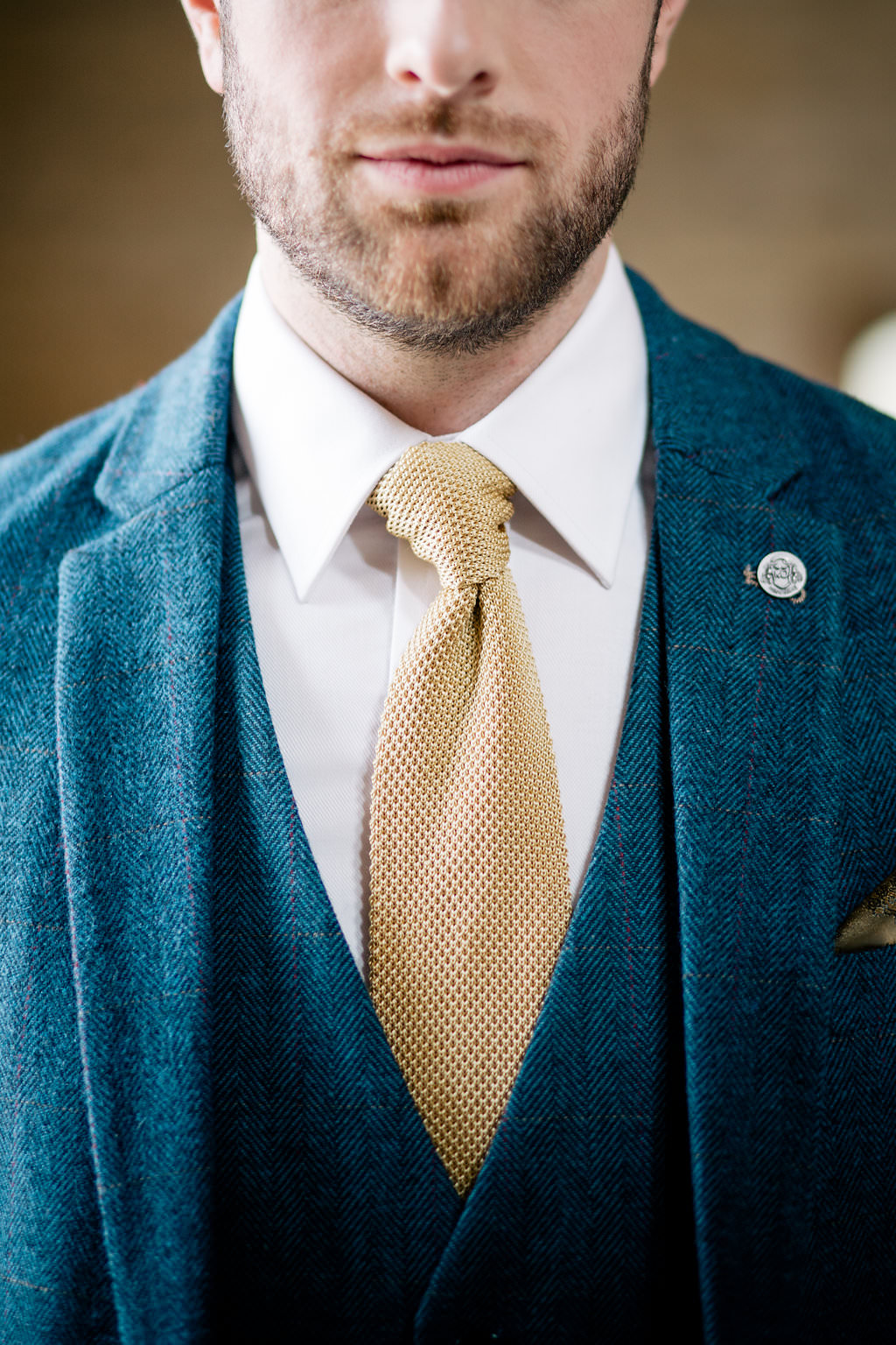 Knitted Groom Suit Blue Mustard Tie Badge Pin Lapstone Barn Wedding Ideas Cotswolds Katie Hamilton Photography