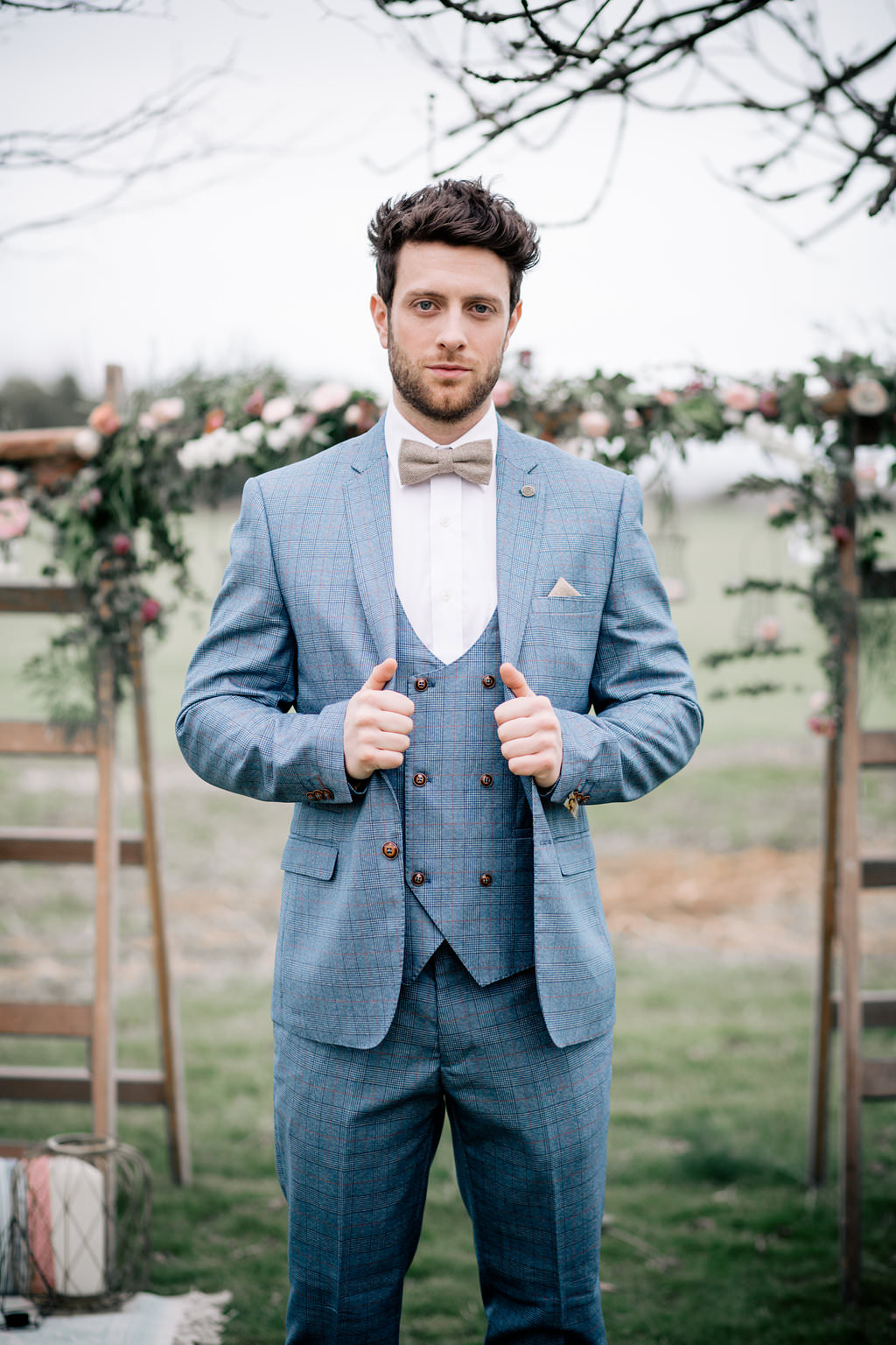 Groom Check Suit Blue Brown Bow Tie Badge Pin Lapstone Barn Wedding Ideas Cotswolds Katie Hamilton Photography