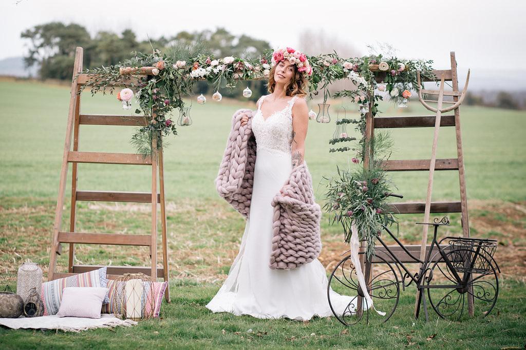 Backdrop Flowers Wooden Ladders Lapstone Barn Wedding Ideas Cotswolds Katie Hamilton Photography