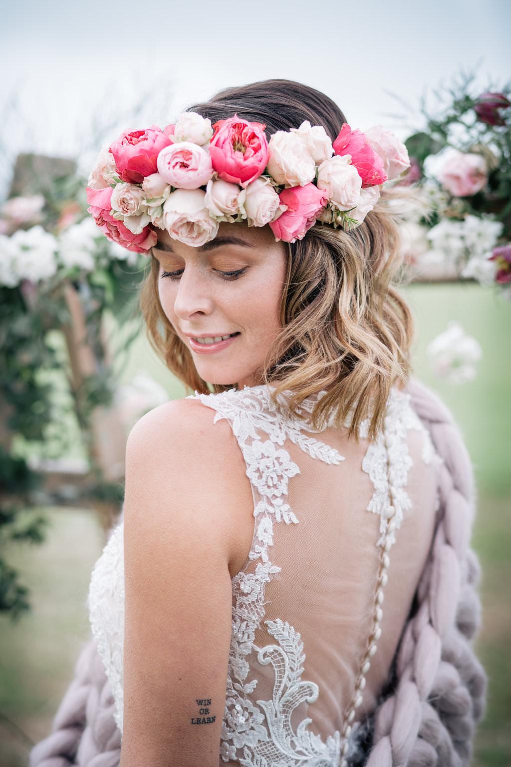 Bride Bridal Hair Style Short Bob Flower Crown Lapstone Barn Wedding Ideas Cotswolds Katie Hamilton Photography