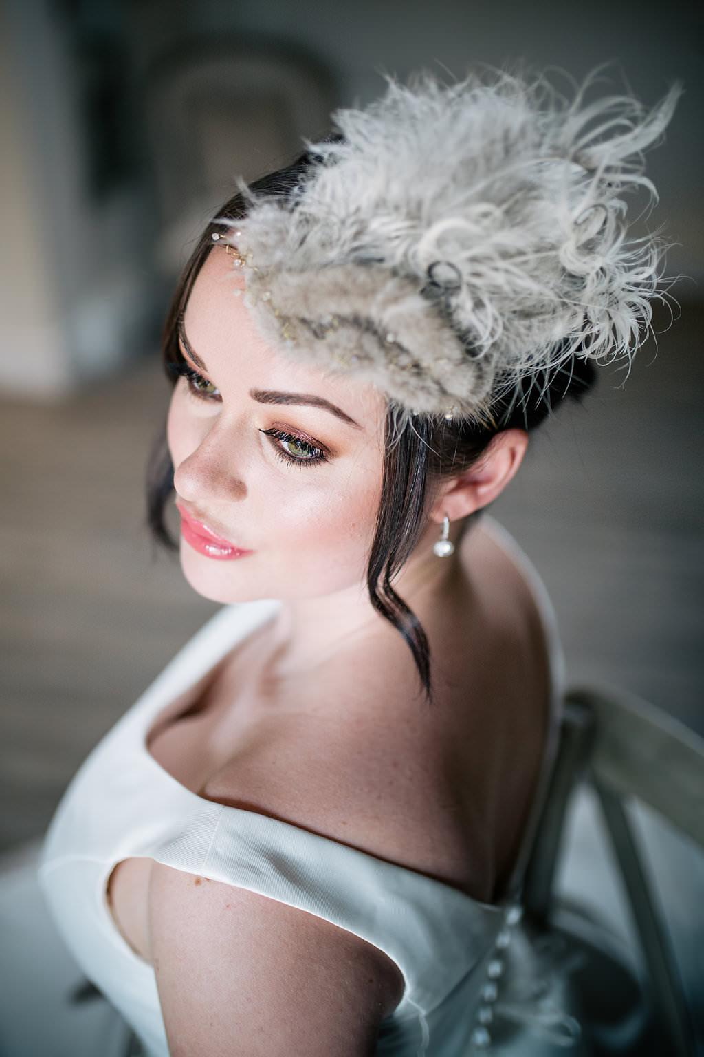 Bride Bridal Hair Style Up Do Feather Accessory Lapstone Barn Wedding Ideas Cotswolds Katie Hamilton Photography