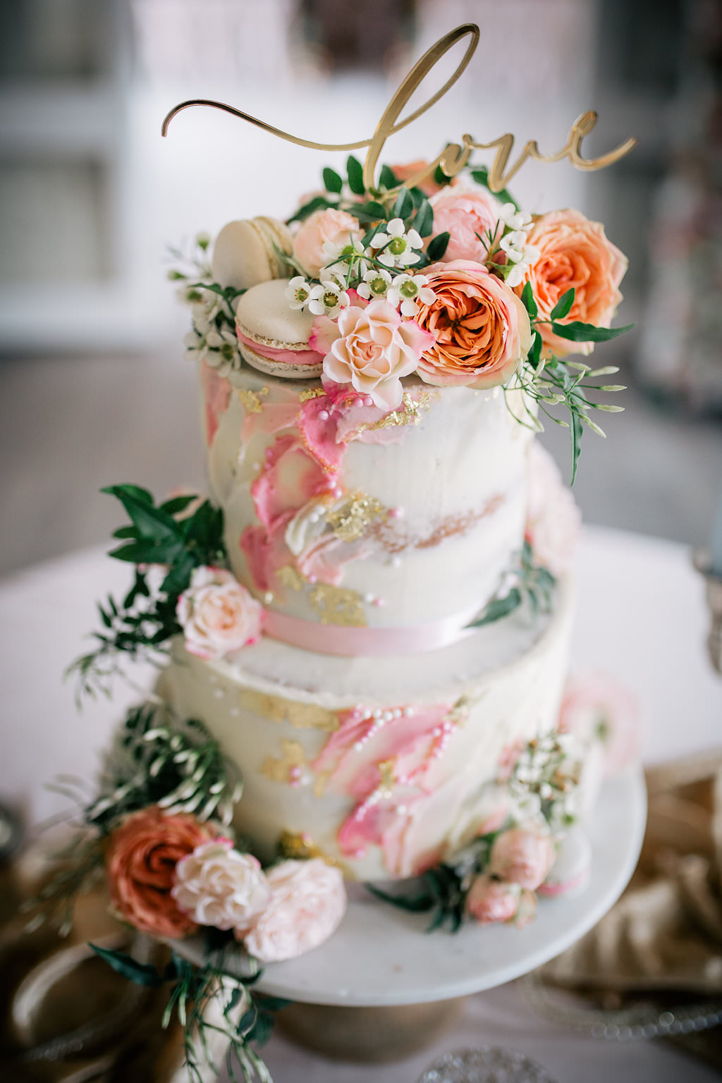 Cake Pink Artist Palette Painted Brush Work Gold Leaf Flowers Macarons Lapstone Barn Wedding Ideas Cotswolds Katie Hamilton Photography
