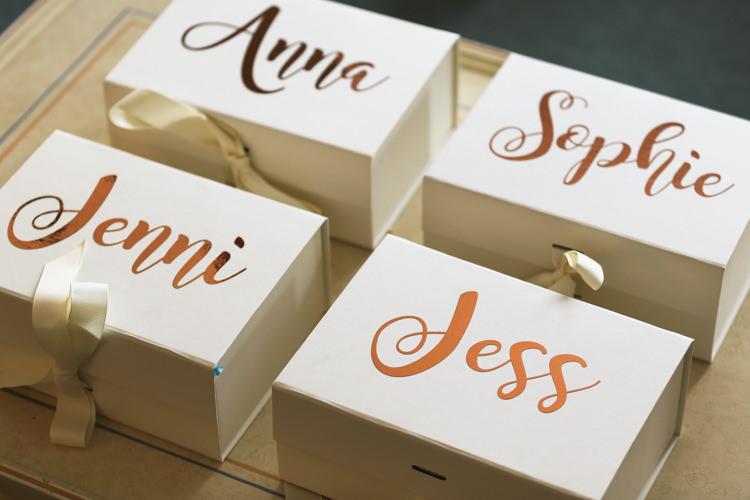 Bridesmaids Gift Boxes Manor Farm Wedding Hampshire Luke Doyle Photography