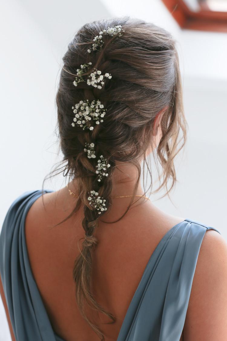 Bridal Bridesmaid Up Do Hairstyle French Plait Gypsophila Manor Farm Wedding Hampshire Luke Doyle Photography
