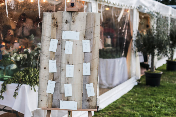 Wooden Board Table Plan Seating Chart String Easel Manor Farm Wedding Hampshire Luke Doyle Photography