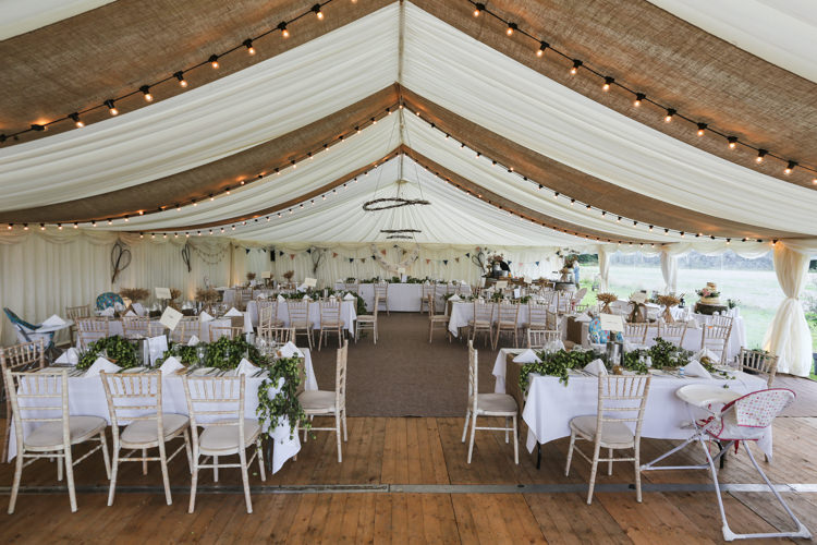 Marquee Hessian Drapes Hops Manor Farm Wedding Hampshire Luke Doyle Photography