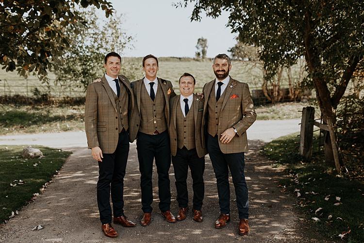 Groom Brown Check Jackets Blue Chinos Tie Groomsmen North Hidden Barn Wedding Autumn Jen Marino Photography