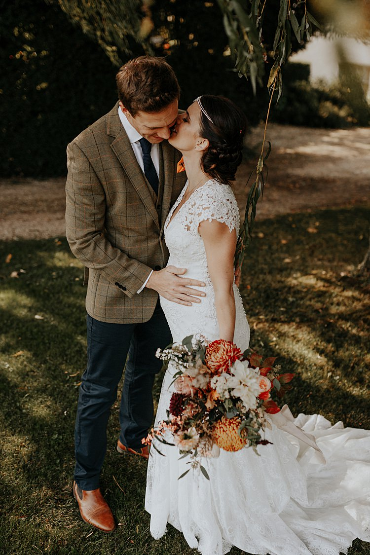 Bride Bridal Lace Gown Fit Flare Pregnant Bump Sleeves North Hidden Barn Wedding Autumn Jen Marino Photography