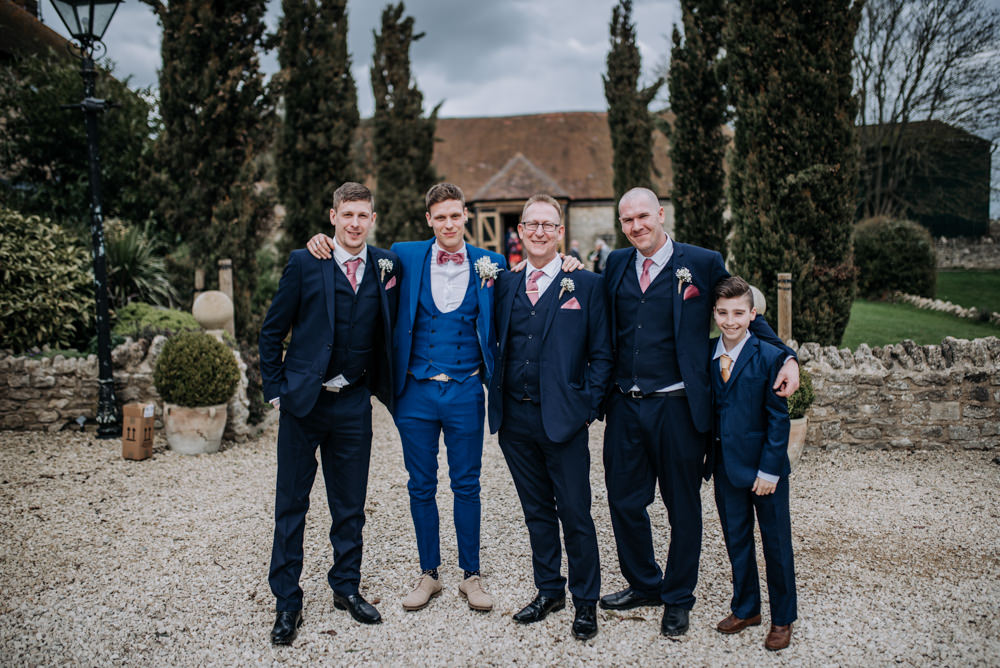 Groom Suit Blue Pink Bow Tie Groomsmen Notley Tythe Barn Wedding Kazooieloki Photography