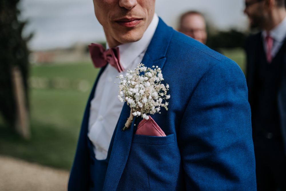 Groom Suit Blue Pink Bow Tie Buttonhole Gypsophila Notley Tythe Barn Wedding Kazooieloki Photography