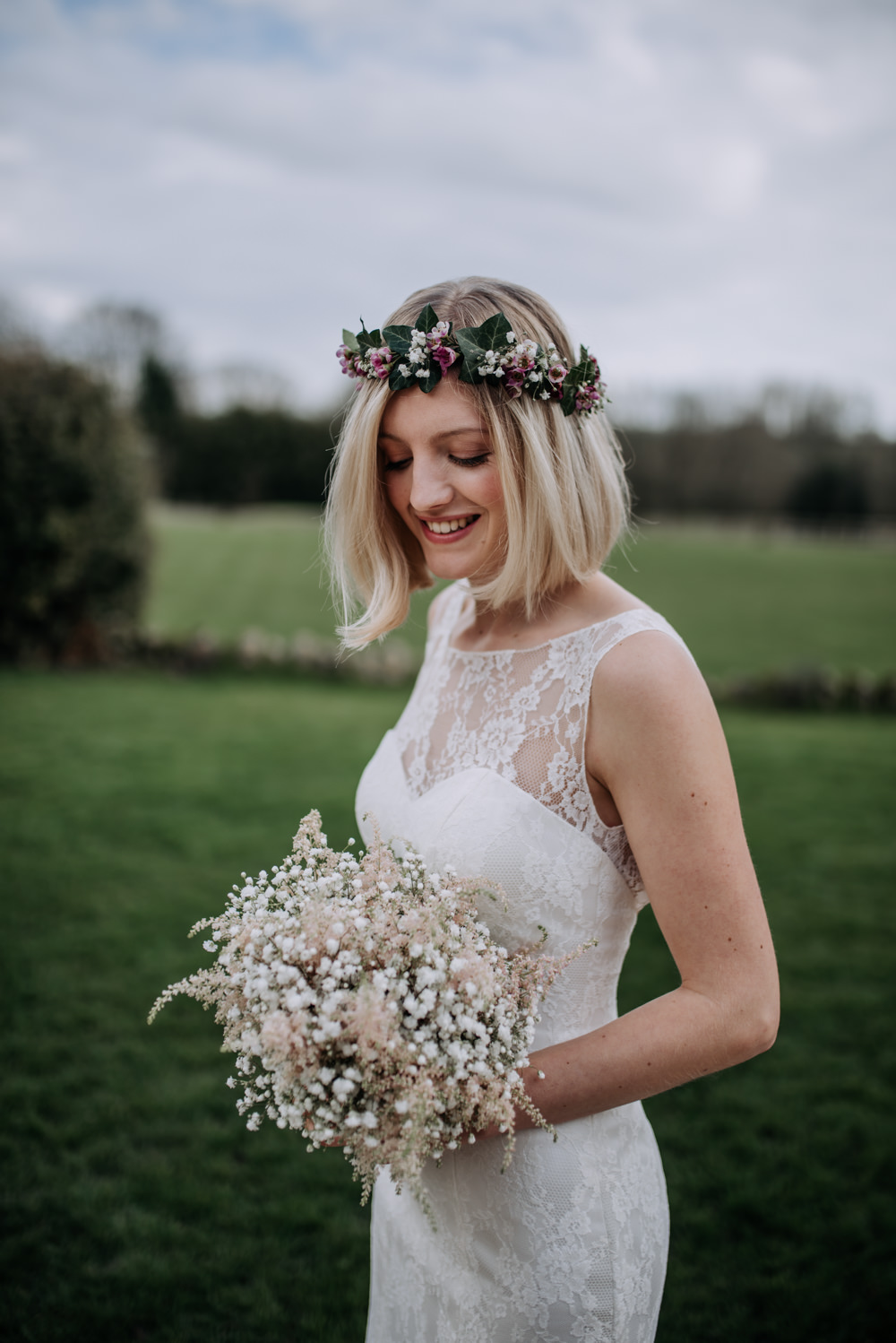 Bride Bridal Dress Gown Lace Flower Crown Short Hair Gypsophila Bouquet Astilbe Notley Tythe Barn Wedding Kazooieloki Photography