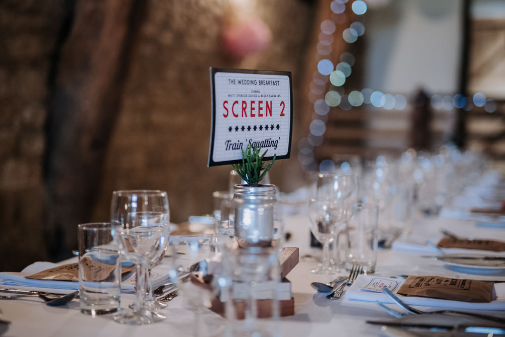 Movie Cinema Table Names Notley Tythe Barn Wedding Kazooieloki Photography