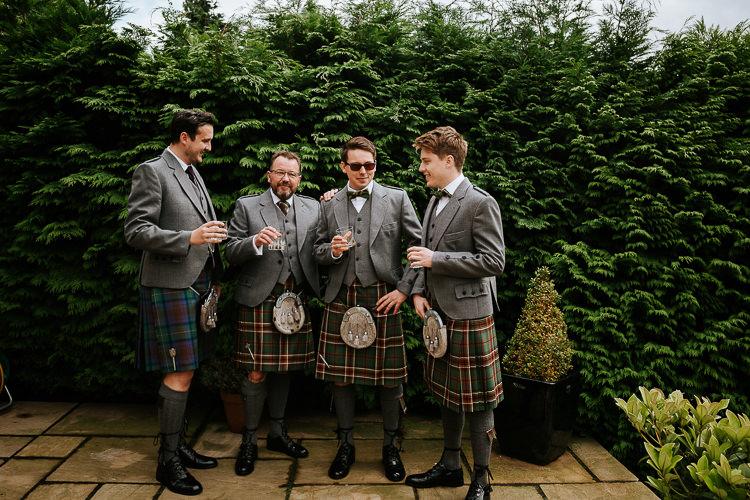 Groom Groomsmen Kilts Bow Ties Tartan Pretty Pastel Floral Village Hall Wedding Struve Photography