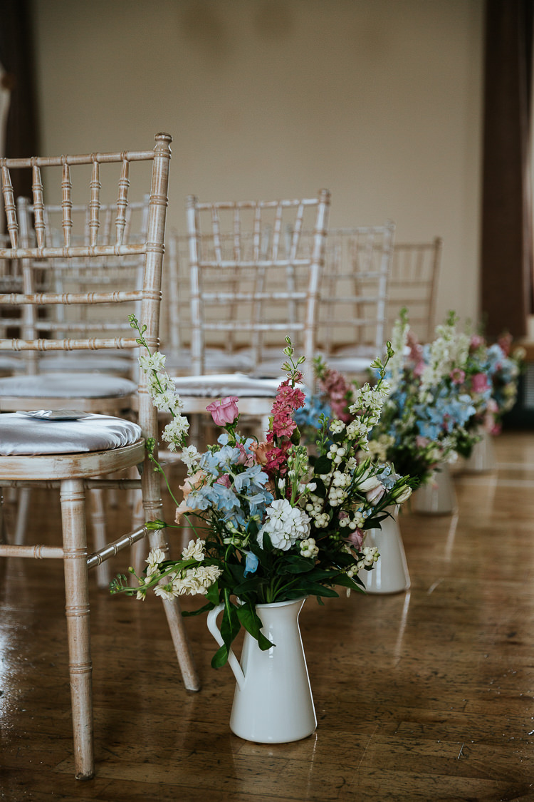 Delphiniums Roses Stocks Pink Blue White Aisle Ceremony Flowers Jugs Pretty Pastel Floral Village Hall Wedding Struve Photography