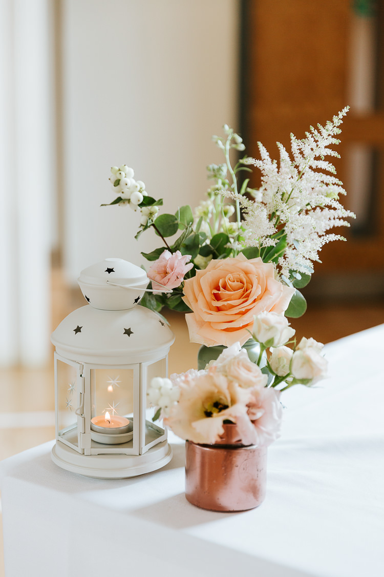 Delphiniums Roses Stocks Pink Blue White Flowers Rose Dahlia Astilbe Poppy Lanterns Candle Pretty Pastel Floral Village Hall Wedding Struve Photography