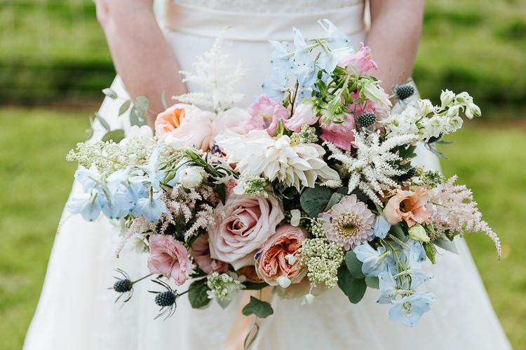 Bouquet Bride Bridal Delphiniums Roses Stocks Pink Blue White Flowers Rose Dahlia Astilbe Pretty Pastel Floral Village Hall Wedding Struve Photography