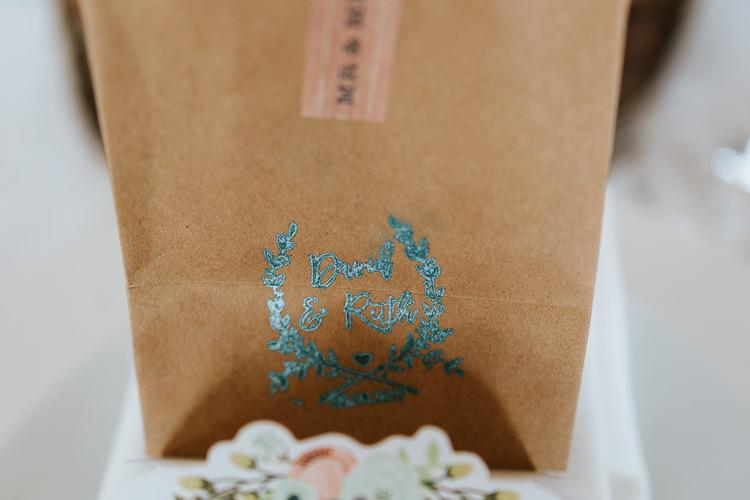 Brown Paper Bag Favour Pretty Pastel Floral Village Hall Wedding Struve Photography