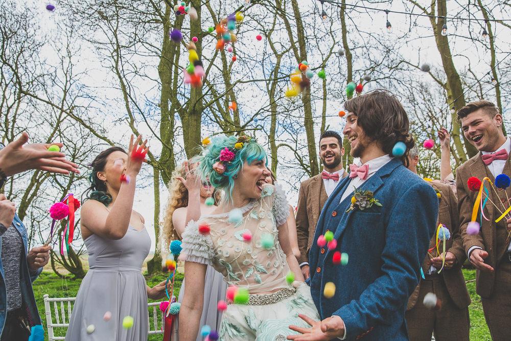 Pom Pom Confetti Rainbow Alternative Woodland Wedding Ideas Nicki Shea Photography