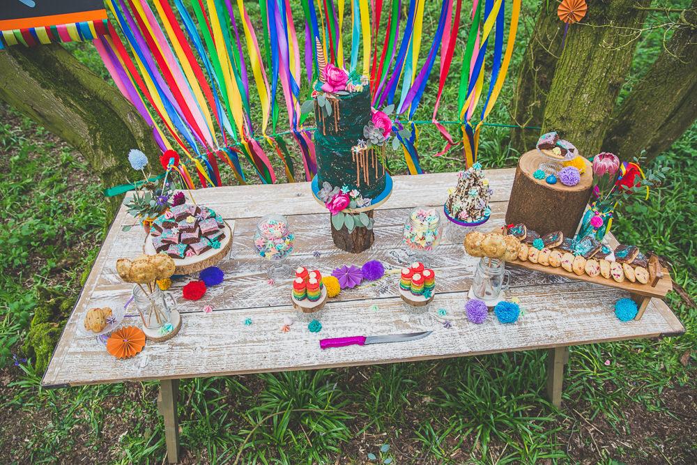 Cake Table Treats Rainbow Alternative Woodland Wedding Ideas Nicki Shea Photography