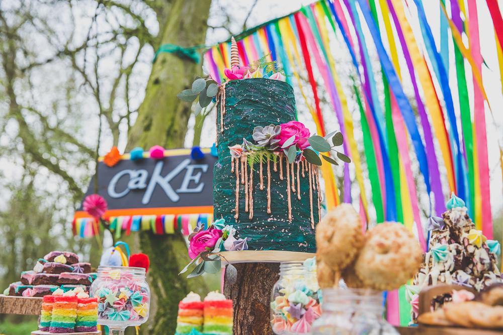 Cake Table Treats Drip Green Gold Rainbow Alternative Woodland Wedding Ideas Nicki Shea Photography
