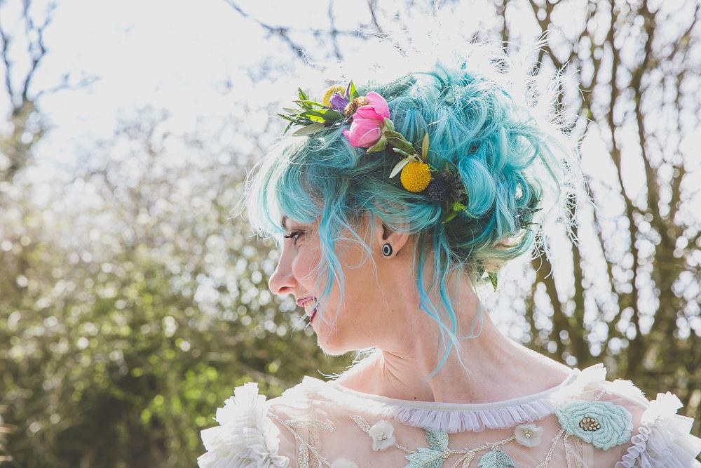 Bride Bridal Hair Blue Rainbow Alternative Woodland Wedding Ideas Nicki Shea Photography