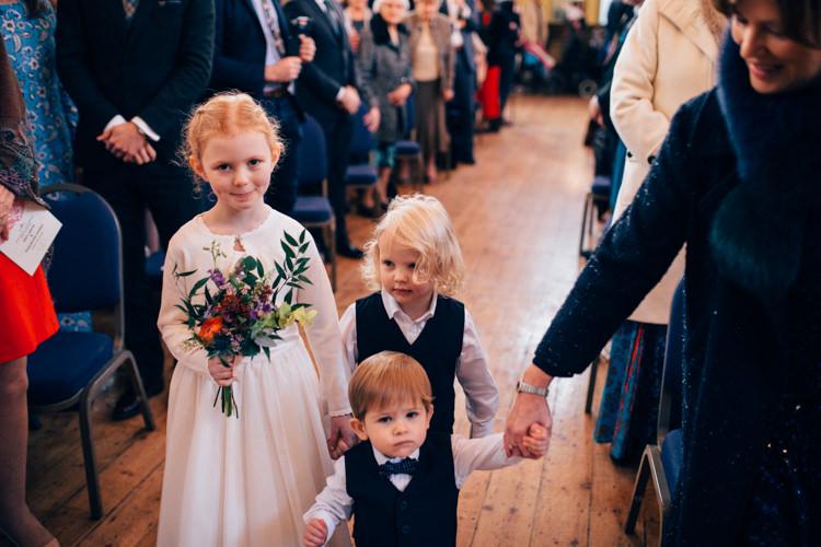 Flower Girl Page Boys Multicoloured Bouquet Colourful Round Chapel London Wedding Nikki van der Molen Photography